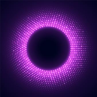 디스코 스타일의 핑크 라운드 프레임. 어두운 배경에 고립 된 밝은 조명 된 원형 테두리.