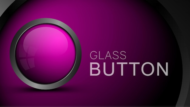 Pink round shape web button with metal frame.