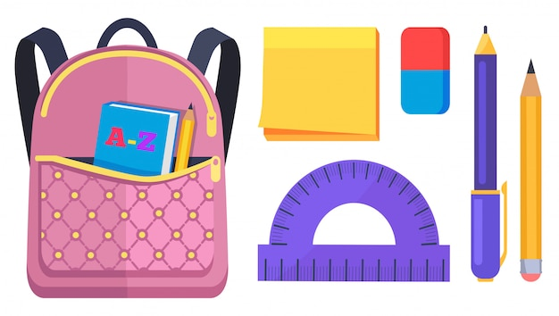 Pink rucksack with pocket on back with abc book