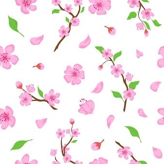 ピンクの桜の花、花びらと枝のシームレスなパターン。日本の春の桜の咲くプリント。ロマンチックな花のベクトルの壁紙。落ちてくる小枝と葉を持つ花のデザイン