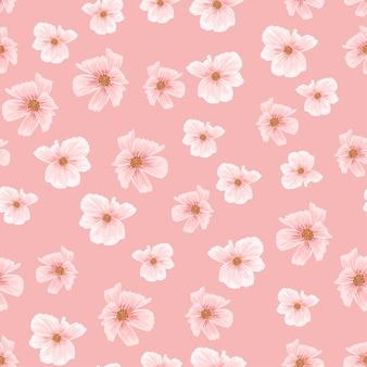 Pink sakura cherry blossom seamless pattern