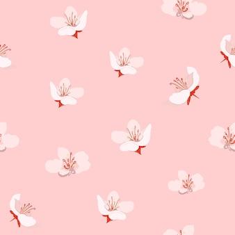 Pink sakura floral pattern  background