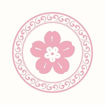 Pink sakura flower badge  chinese traditional symbol