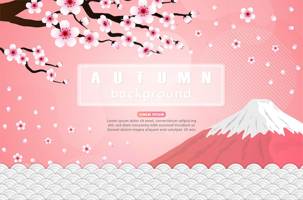 Pink sakura and fuji mountain design. japan illustration.