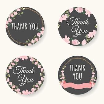 핑크 사쿠라 또는 벚꽃 꽃 감사 스티커 컬렉션
