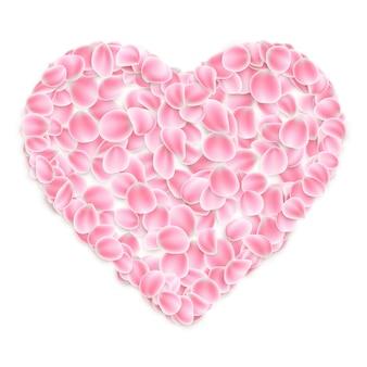 Розовые лепестки сакуры в форме сердца на белом фоне.