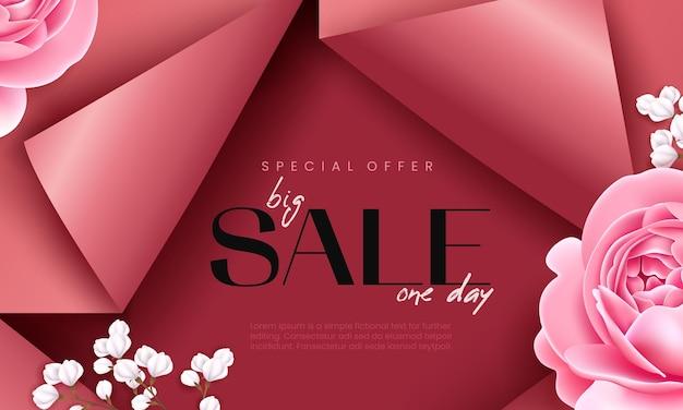 장미와 석고로 장식된 절단된 종이 효과가 있는 분홍색 판매 배너. 광고 배경 템플릿입니다.