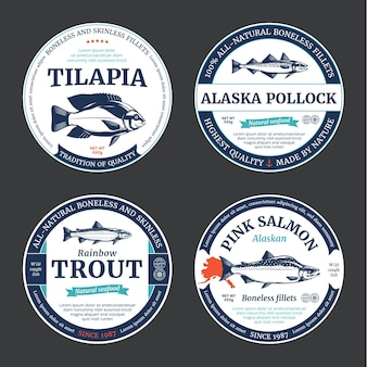 Pink salmon rainbow trout tilapia and alaska pollock round labels