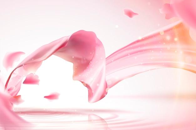 Розовый атласный фон, гладкая ткань с мерцающим эффектом и летающие лепестки в 3d иллюстрации