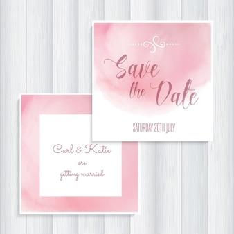 ピンクの日付の招待状を保存