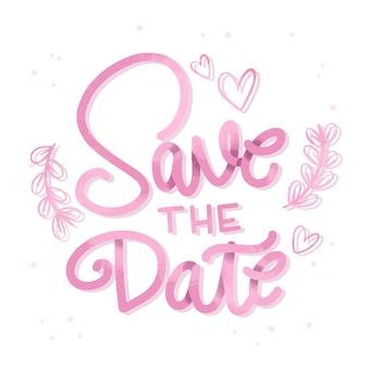 ピンクは日付のレタリングを保存します