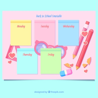 Pink school timetable template