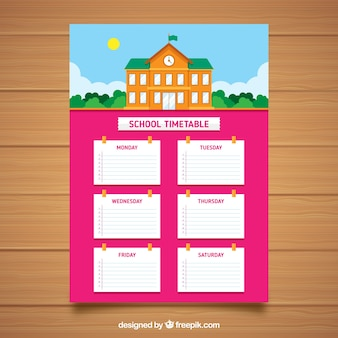 Pink school timetable