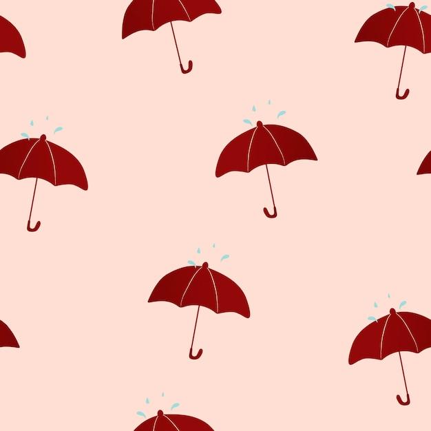 ピンクのシームレスなパターンの背景、傘イラストベクトル