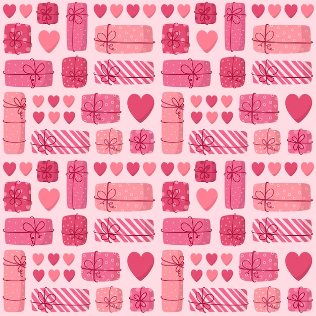 Розовый фон из подарочных коробок и сердечек.