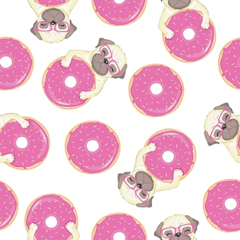 Pink seamless pattern with funny french bulldog and donut.