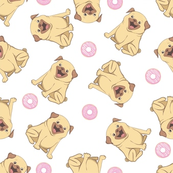 Pink seamless pattern with funny pug and donut.