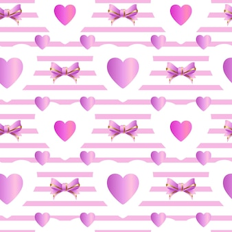 Pink seamless pattern with hearts vector illustration
