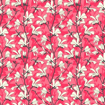 Pink seamless pattern with magnolia tree blossom. spring design floral