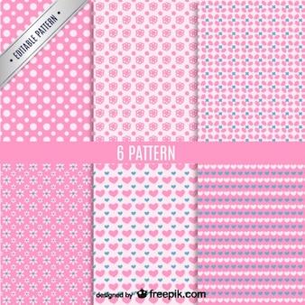 핑크 원활한 패턴 세트
