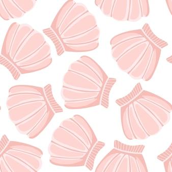 ピンクの貝殻はシームレスなパターンをベクトルします。抽象的なシェルマリン壁紙。水中の背景。