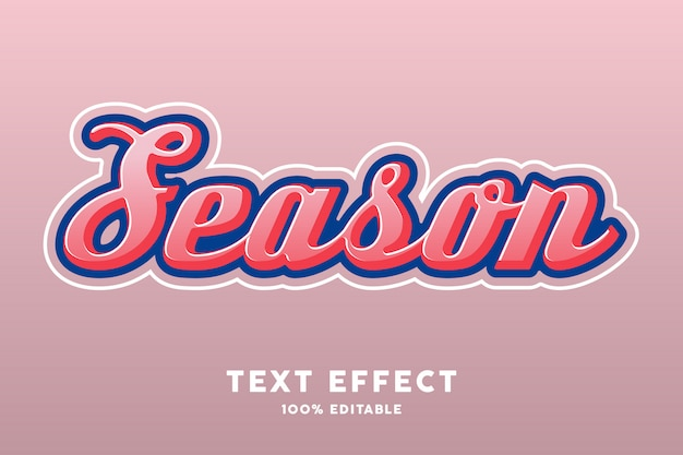 Pink season retro color text style effect