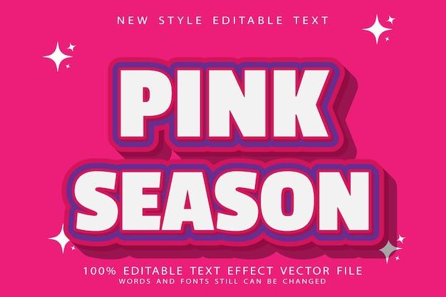 Pink season text effect emboss modern style