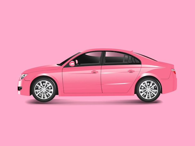 Pink sedan car in a pink background vector