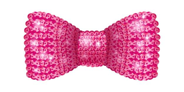 Розовый галстук-бабочка с пайетками.