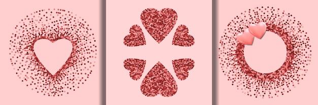 ピンクのスパンコールベクトルハートフレームは幸せなバレンタインデーカードを設定します