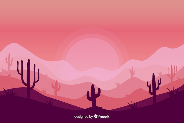 Pink shades background with silhouettes of cacti