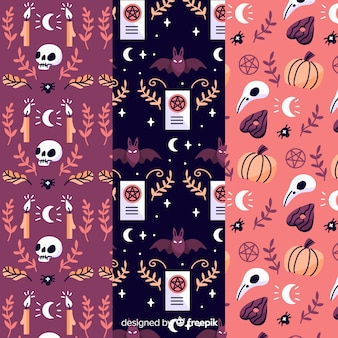 Pink shades for halloween hand drawn pattern