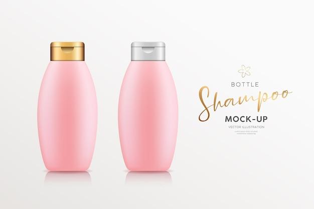 Розовая бутылка шампуня с золотой и серебряной крышкой