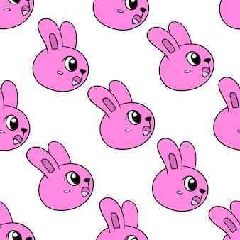 핑크 충격된 토끼 원활한 패턴 섬유 인쇄입니다. 여름 빈티지 패브릭, 스크랩북, 벽지, 선물 포장에 좋습니다. 반복 패턴 배경 디자인