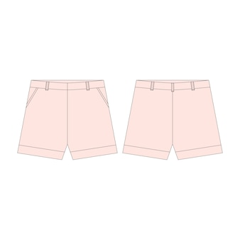 Pink shorts pants for girls isolated  .