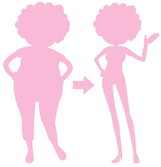 A pink silhouette of body transformation