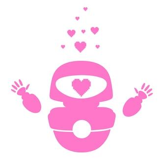 분홍색 실루엣의 귀여운 흰색 현대 공중 부양 로봇은 손을 들고 분홍색 심장 사랑의 얼굴을 하고 있습니다.