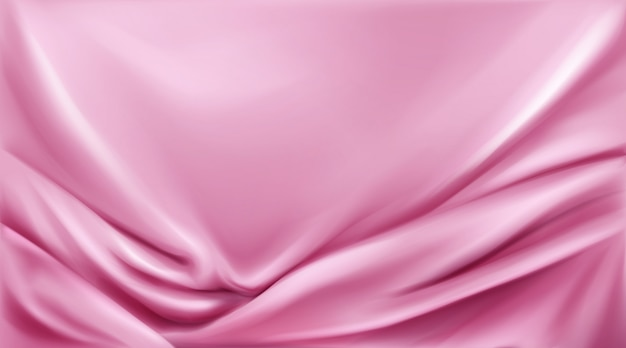 Pink silk folded fabric background luxurious cloth