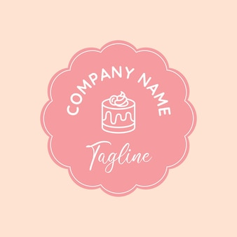 Pink simple and clean dessert vector logo template with circle flower emblem in blush background
