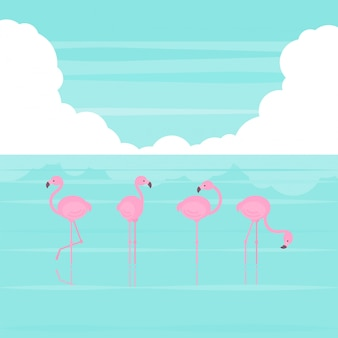 Pink simplified flamingos standing in several poses at the beach in flat cartoon style