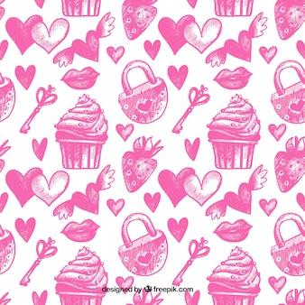 Pink sketches pattern of valentine elements