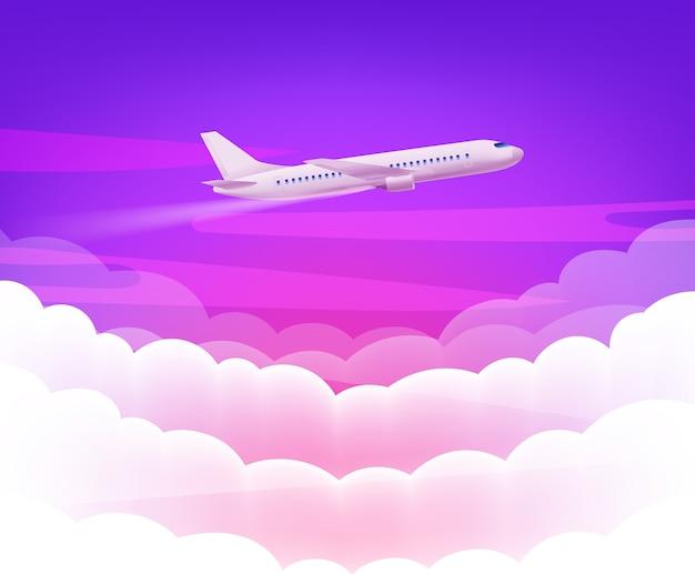 Розовое небо и современный самолет на фоне милых белых облаков