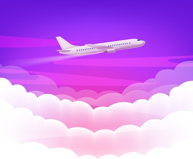 Pink sky and modern airplane with cute white clouds background