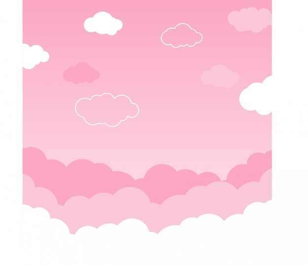 Pink sky with clouds background vector