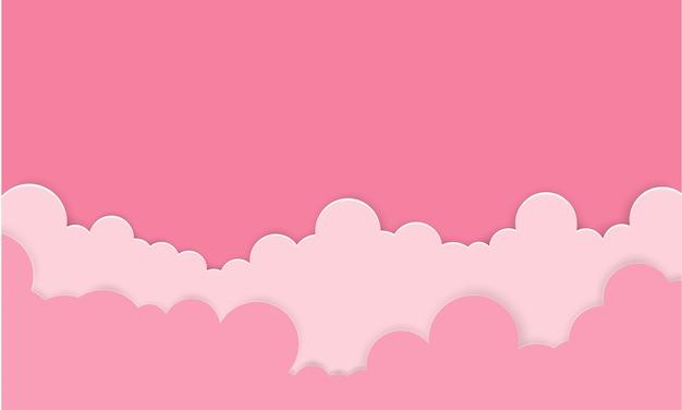 雲とピンクの空。バレンタイン漫画の背景。デザインのための明るいイラスト。
