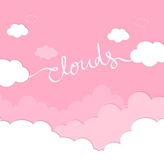Pink sky with clouds wallpaper vector