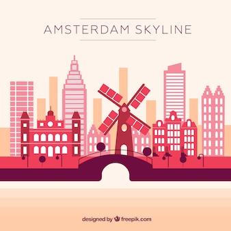 アムステルダムのピンクのスカイライン