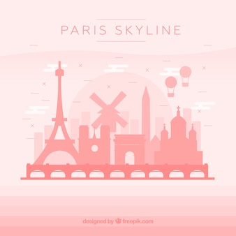 Pink skyline of paris