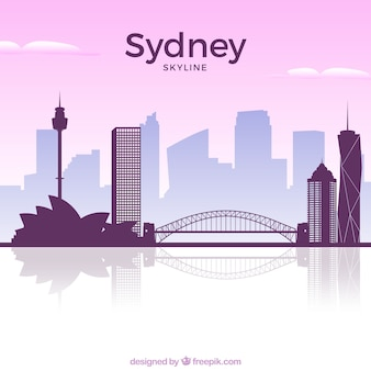 Pink skyline of sydney Free Vector