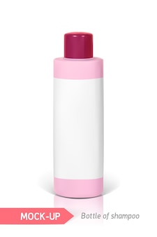 Pink small bottle of shampoo with label